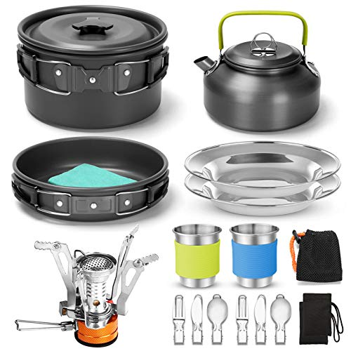 Cookware Mess Kit with Folding Camping Stove