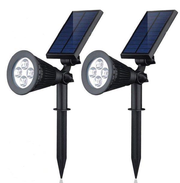 2-in-1 Waterproof 4 LED Solar Spotlight Adjustable Wall Light