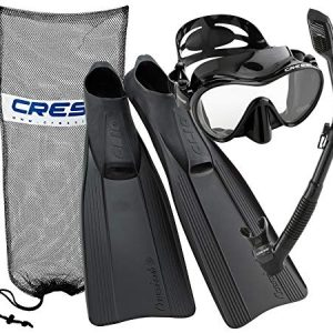 Cressi Clio Full Foot Fin Frameless Mask Dry Snorkel Set