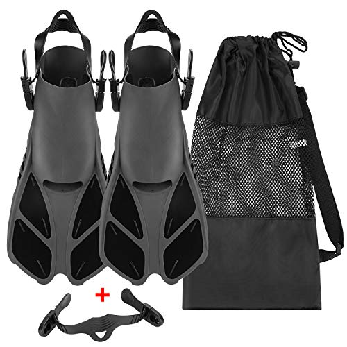 Travel Size Adjustable Strap Diving Flippers with Mesh Bag
