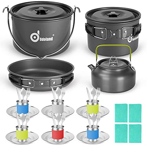 Camping Cookware Mess Kit with Base Dinner Cutlery Sets