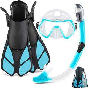 ZEEPORTE Mask Fin Snorkel Set with Adult Snorkeling Gear