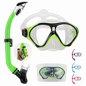 Snorkeling Gear for Kids with Foldable Silicone Full Dry Snorkel