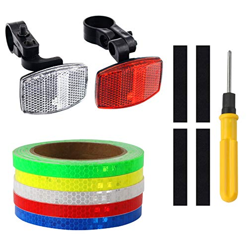 Front and Rear Bike reflectors with 5 Colors Reflective Tape