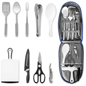 Camping Kitchen Utensil Set Cooking and Grilling Utensil with Organizing Bag