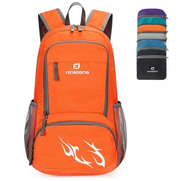 Orange Foldable Waterproof Packable Travel Hiking Backpack