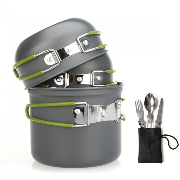 Outdoor Cooking Equipment 9 Piece Cookset Camp Pot Pan Bowls