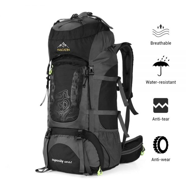 70L Backpack Water-Resistant Hiking Daypack