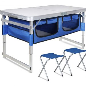 Folding Camping Table with Storage with Organizer and 2 Chairs