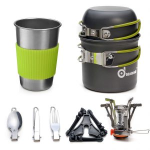 Carabiner Canister Stand Tripod and Stainless Steel Cup