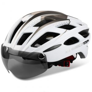 Climbing Helmet with Detachable Magnetic Goggles Visor & Led Back Light & Portable