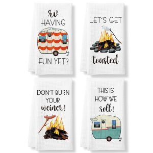 Perfect for RV Funny Camping Kitchen Towels and Dishcloths Sets