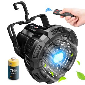 Power Bank Camping Fan with LED Lantern