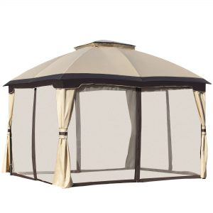Outsunny 12' x 10' 2-Level Outdoor Gazebo Canopy Tent