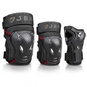 Bike Knee Pads and Elbow Pads with Wrist Guards Protective Gear Set