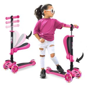 1-14 Years Old 3-Wheeled Scooter LED Lights with Brake for Boys and Girls