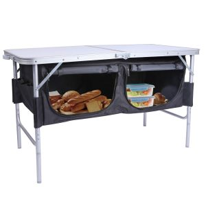 Folding Table Adjustable Height with Oxford Storage Organizer