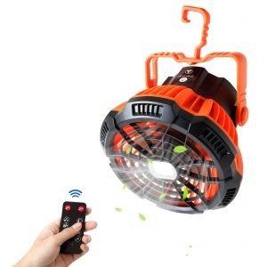 Portable Tent Fan with Hanging Hook Camping Fan with LED Lantern