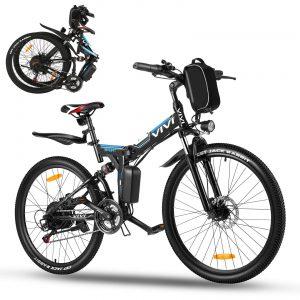 """Vivi 26"""" Folding Electric Bike,350W Electric Mountain Bike"""