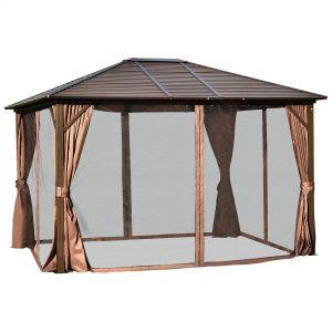 Outdoor Hardtop Canopy Patio Gazebo with Steel Roof