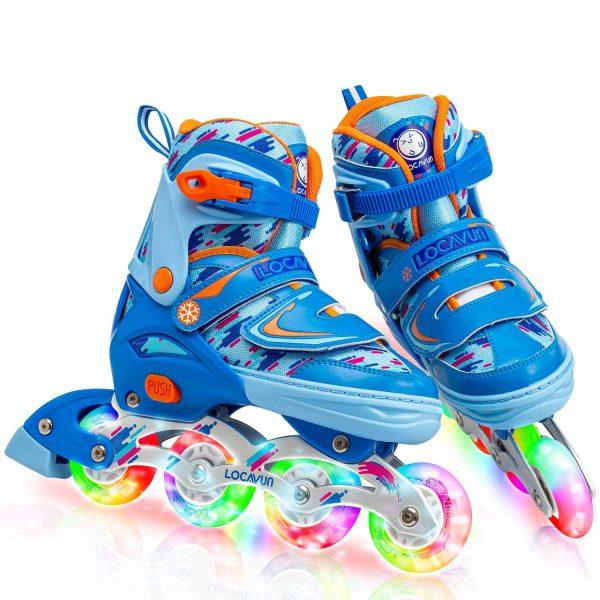 LOCAVUN Adjustable Light up Inline Skates for Kids