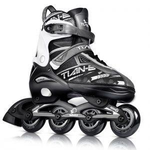 Black Sliver Adjustable Inline Skates for Boys Girls
