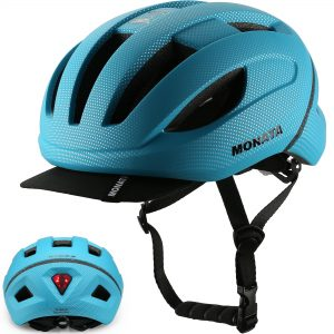 Adult Bicycle Helmet with Light and Detachable Visor