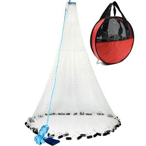 Bait Saltwater Fishing Cast Net with Heavy Duty Sinker