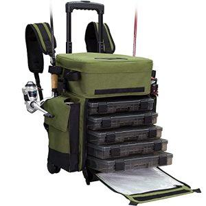 Rolling Fishing Tackle Box X-Large Waterproof Storage Bag Backpack