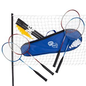 Badminton Set Complete Outdoor Yard Game with 4 Racquets,