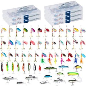 60 Fishing Lures Kit with 5 Tackle Boxes Spinner Baits