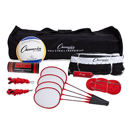 Portable Equipment for Lawn, Beach Volleyball & Badminton Set