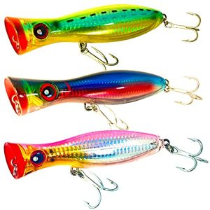 Saltwater surface casting and freshwater Popper Lure Set of 3