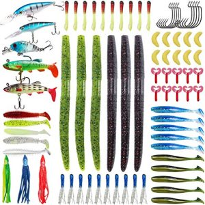 Soft Fishing Lures Kit Set with Tackle Box