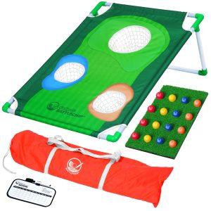 Backyard Golf Cornhole Game Foam Balls, Hitting Mat